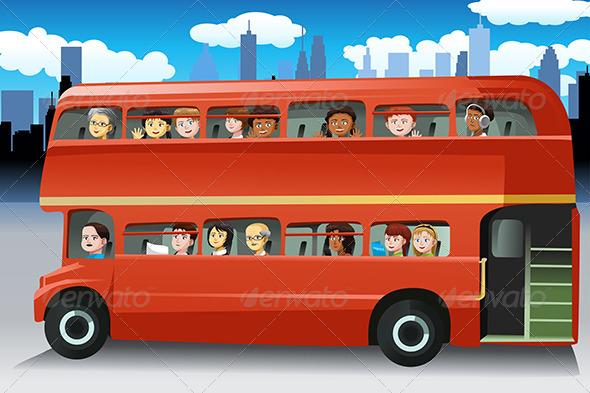 Bus Passengers Clipart.