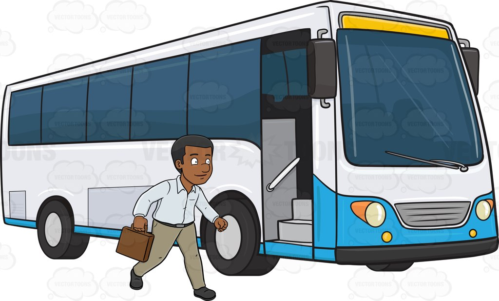 A Black Man Who Is About To Enter A Passenger Bus.