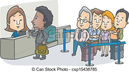 Vector of Passenger Man with a Bag at the Check.