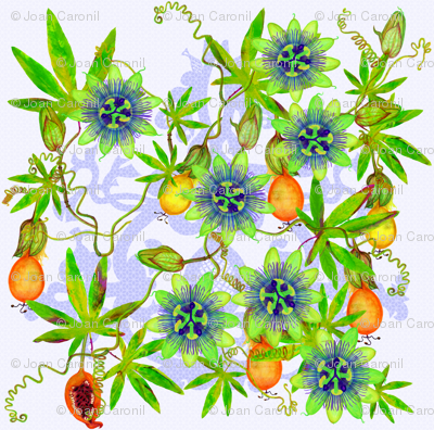 Passiflora caerulea fabric.
