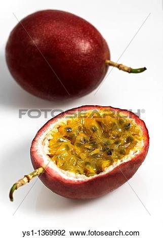 Stock Photo of PASSION FRUIT passiflora edulis AGAINST WHITE.