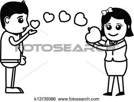 Clip Art of Boy Passing Flying Kiss to Girl k13739386.
