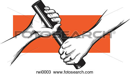 Drawing of Hands passing off a baton rwi0003.