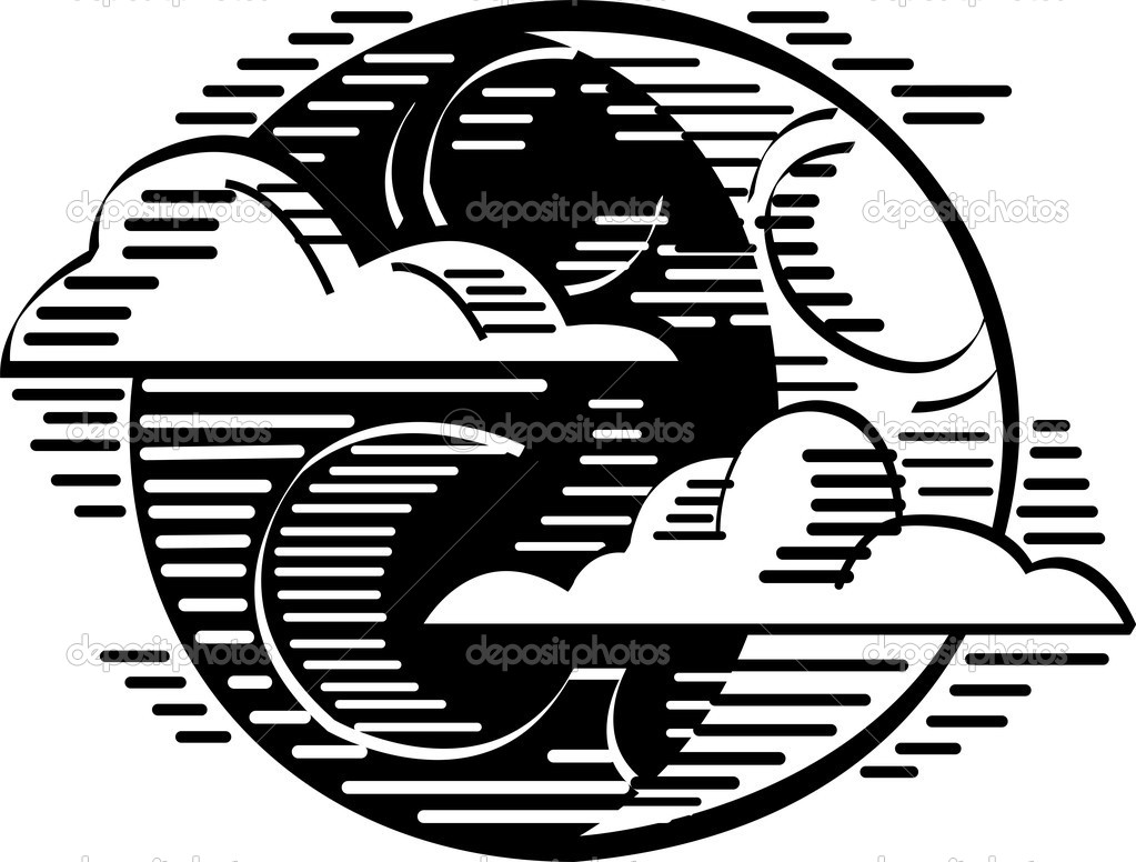 Black and white holiday clipart picture of clouds passing in front.