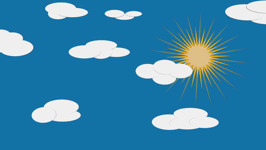 Cartoon Clouds Passing By The Sun Stock Footage Video 144313.