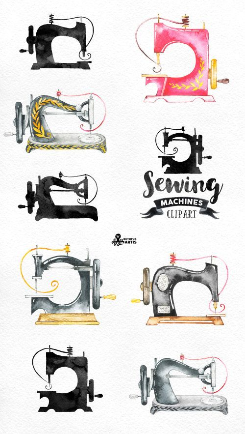 Sewing Machines Watercolor Clipart. 9 Hand painted images, black.