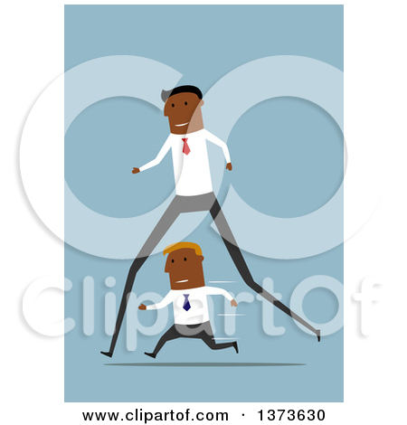 Clipart of a Flat Design Long Legged Black Business Man Passing a.