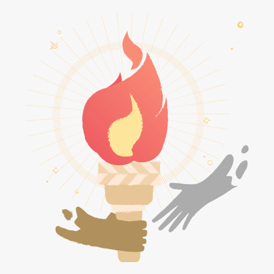 An Illustration Of One Hand Passing A Torch To Another.