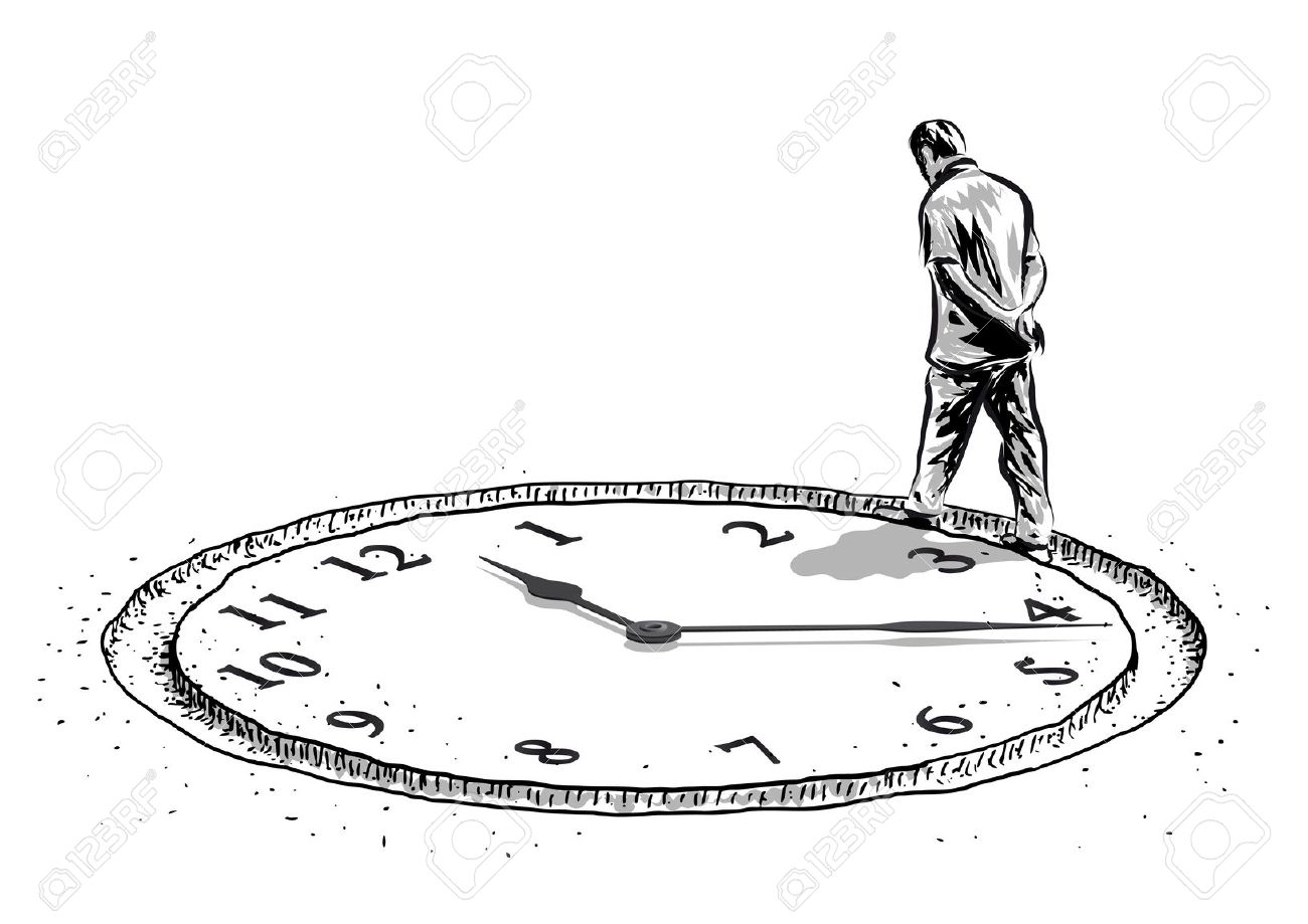 Man And The Time Royalty Free Cliparts, Vectors, And Stock.