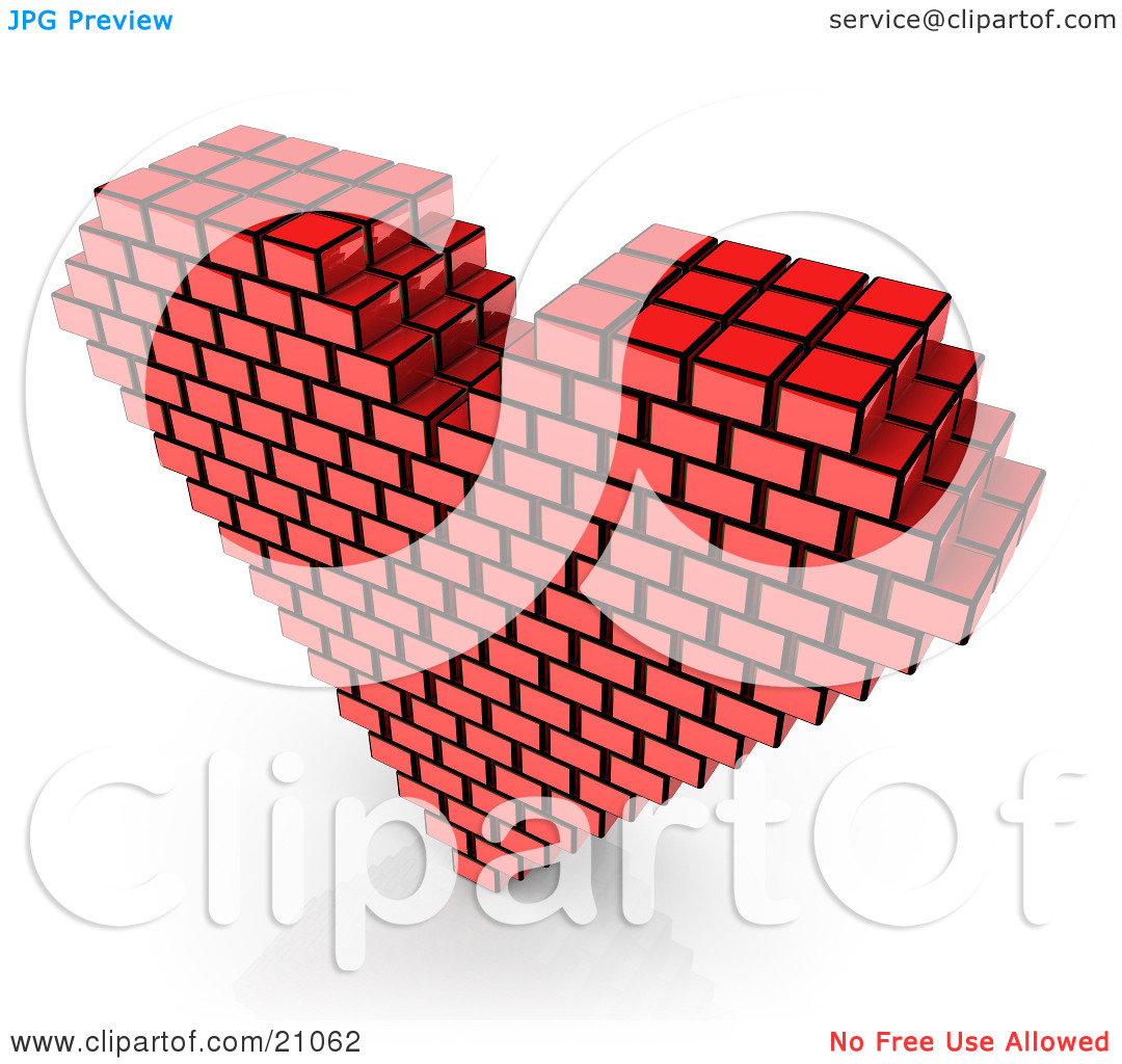 Clipart Illustration of a Red Passion Heart Made Of Cubes Over A.