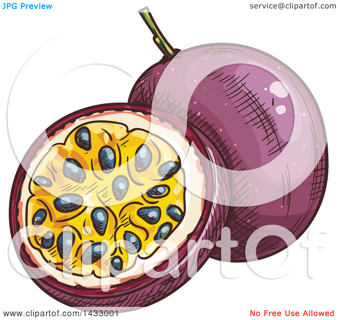Clipart of a Sketched Passion Fruit.
