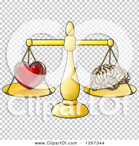 Clipart of a Red Heart and Brain on Golden Scales, Following Logic.