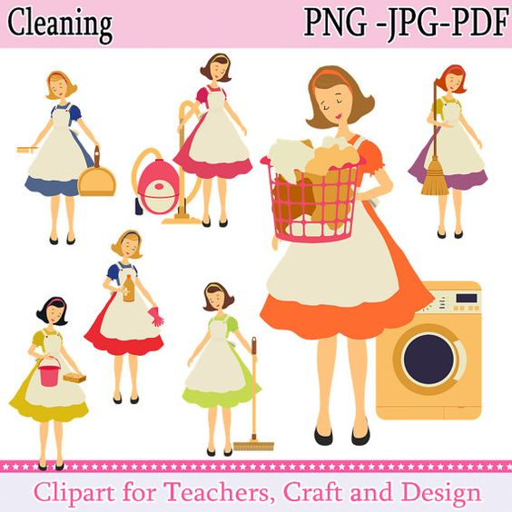 Cleaning Clipart, Chores Clipart, Housework Clipart, Instant.