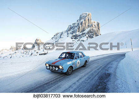 "Stock Photo of ""Vintage car rally, WinterRAID 2013, Ford Lotus."