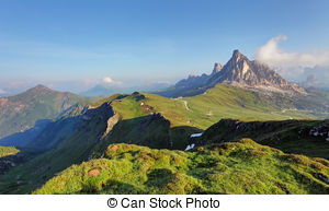 Stock Photography of Beautiful sunrise from the Passo Falzarego.