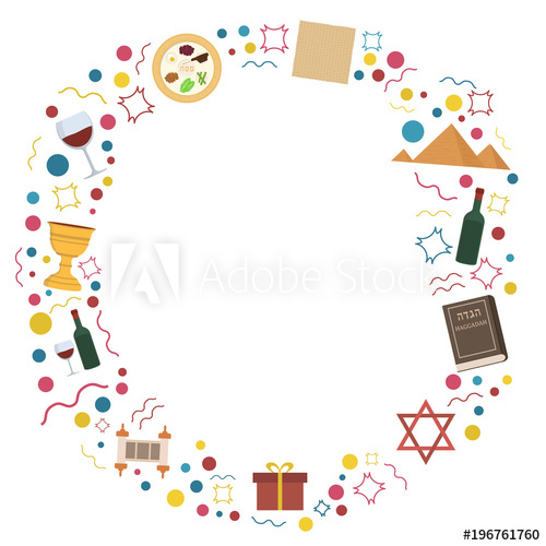 Frame with Passover holiday flat design icons.