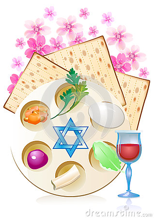Passover Dinner , Seder Pesach. Background With Passover Plate And.