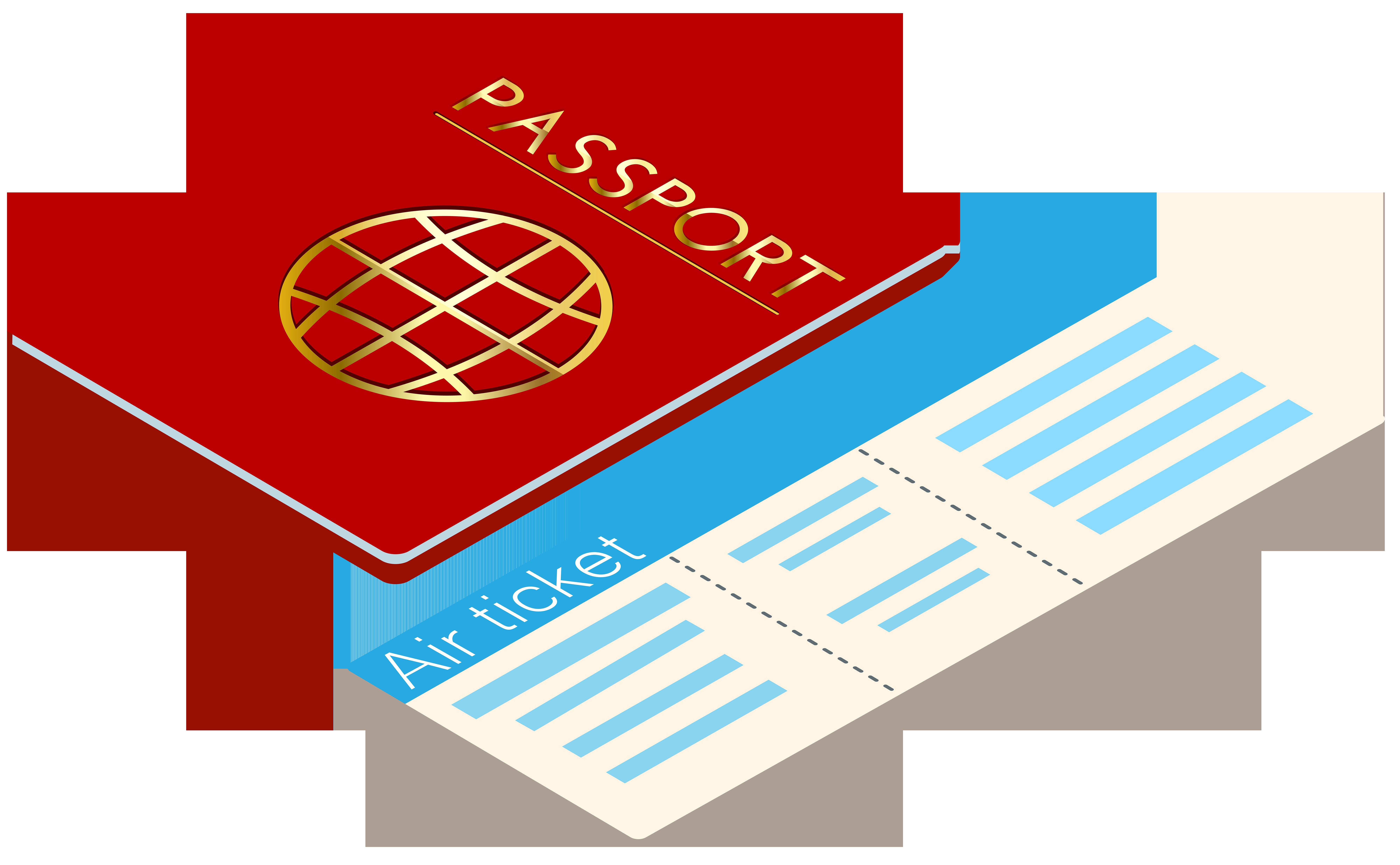 Passport and Ticket Transparent Clip Art.