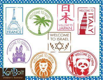Passport Stamps Clip Art.