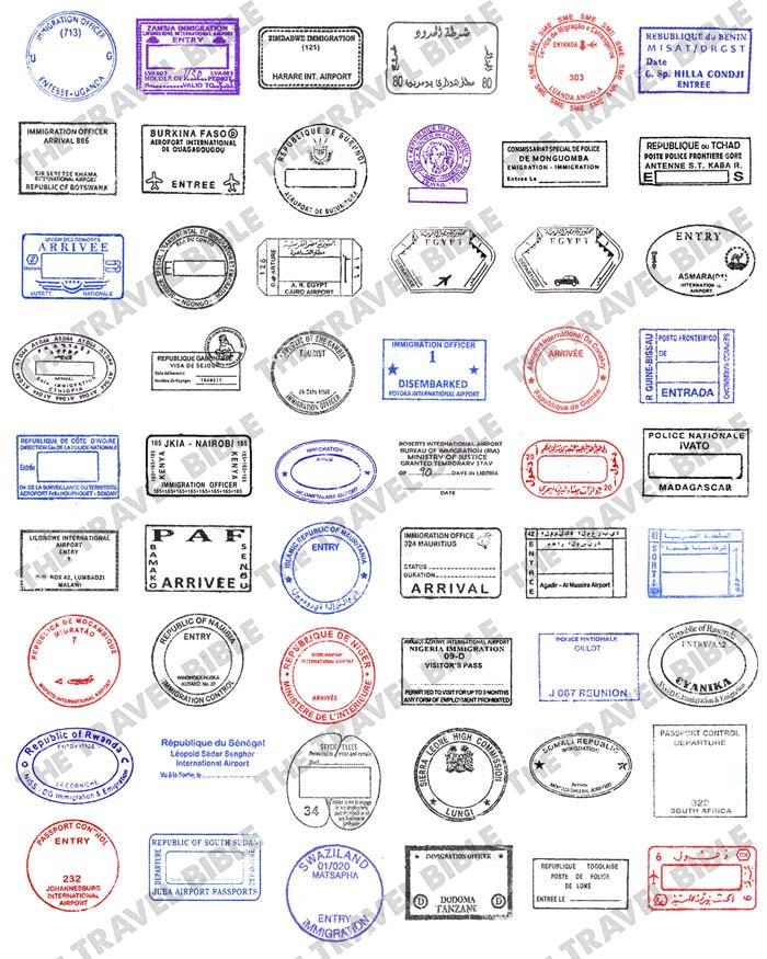 World Passport Stamps Clipart PNG Digital Download.
