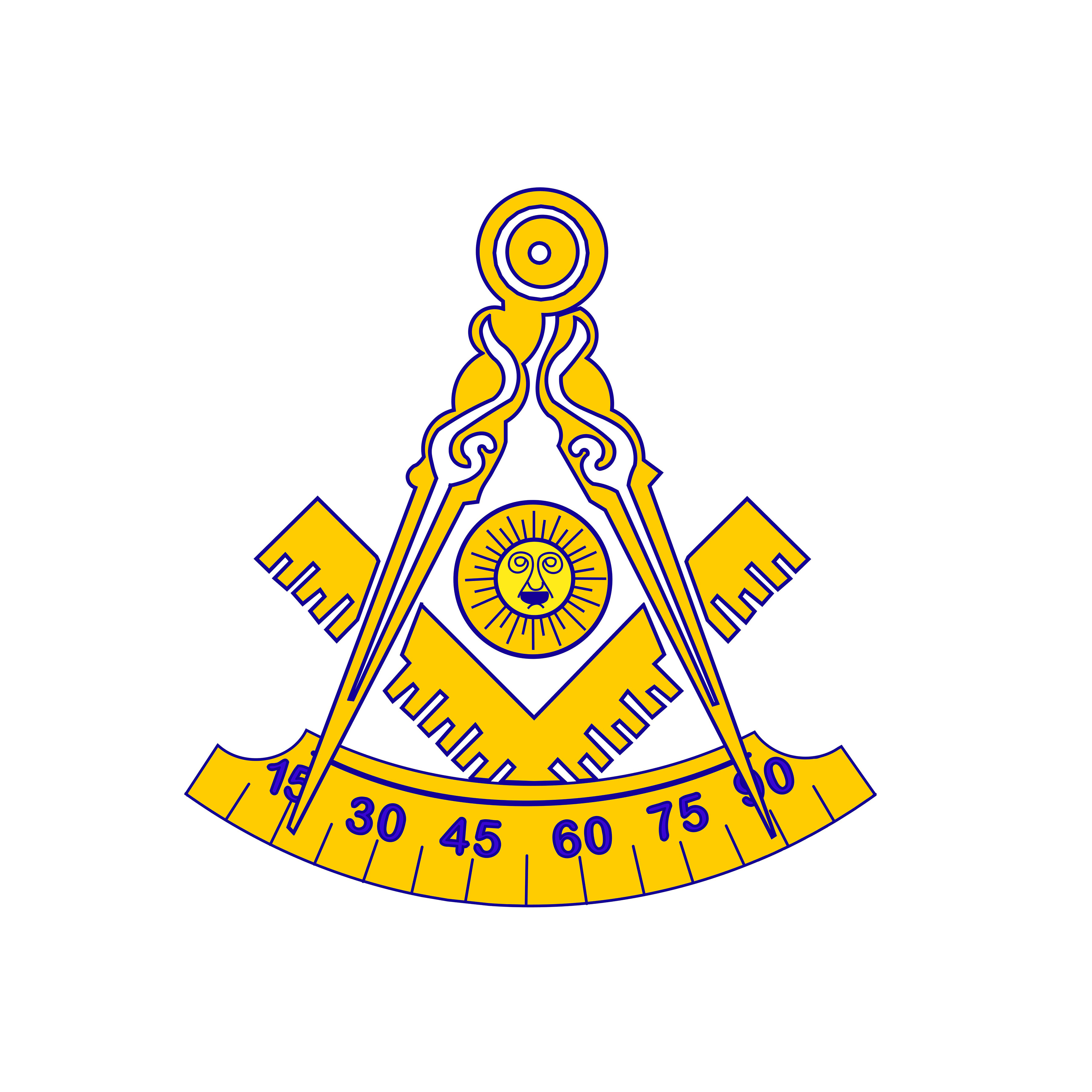 Past Master\'s Square and Compasses with Rocker.