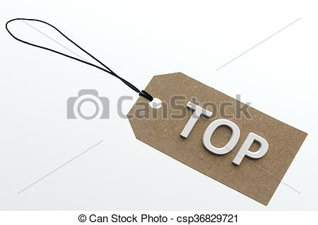 Clip Art of Top word on pasteboard tag.