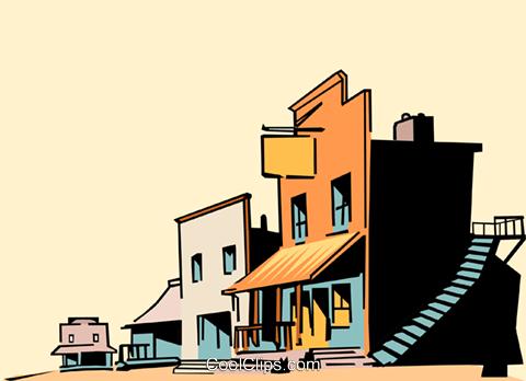 Cartoon western town Royalty Free Vector Clip Art.