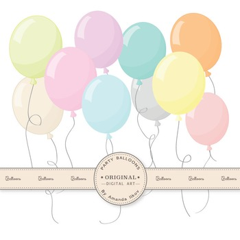 Premium Pastel Party Balloons Clipart & Vectors for Crafting, Invitations &  More.
