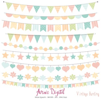 Vintage Bunting Banner Clipart Scrapbook Vector Colorful Party Clip art.