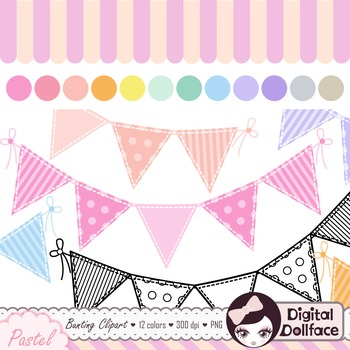 Pastel Bunting Banner Clipart / Cute Graphics.