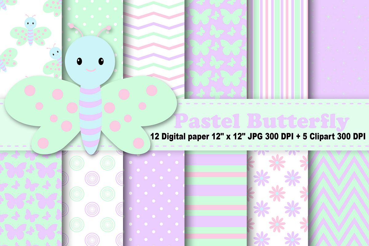 Pastel Butterfly Digital Paper, Rainbow Butterflies, spring digital paper,  butterflies background, Butterfly Clipart, butterflies Clipart, Pattern..