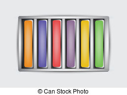 Vectors Illustration of Chalk box, pastels.