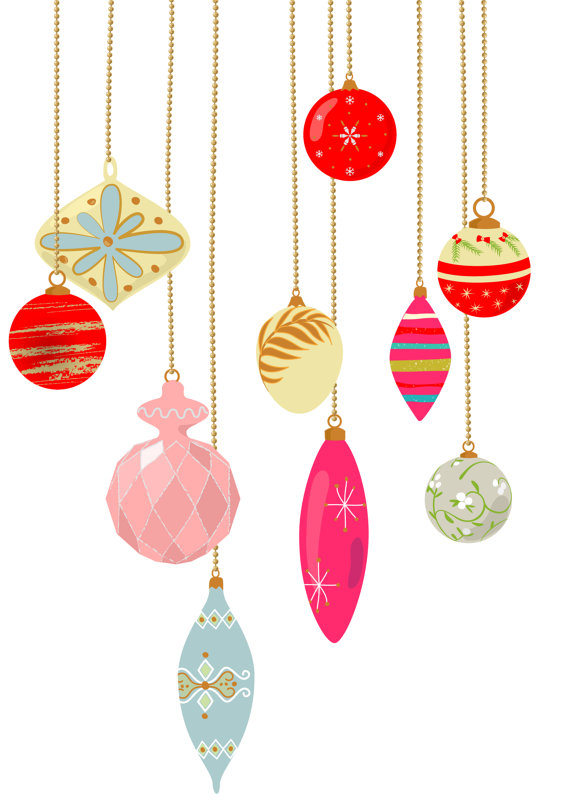 10 vintage Christmas ornament clip art, pastel color, retro.