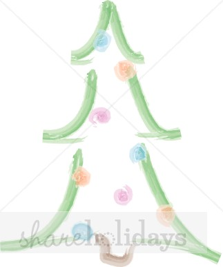 Watercolor Christmas Tree with Pastel Bulbs Clipart.