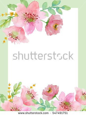 Painted watercolor composition of flowers in pastel colors.