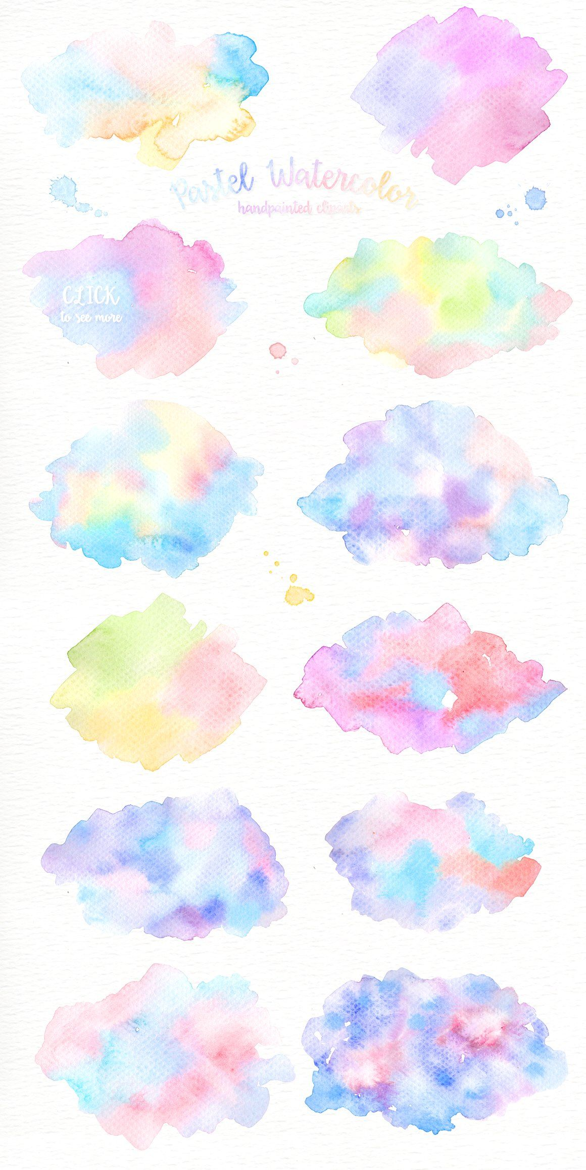Pastel Watercolor Splashes Clipart #pastel#bright#images.