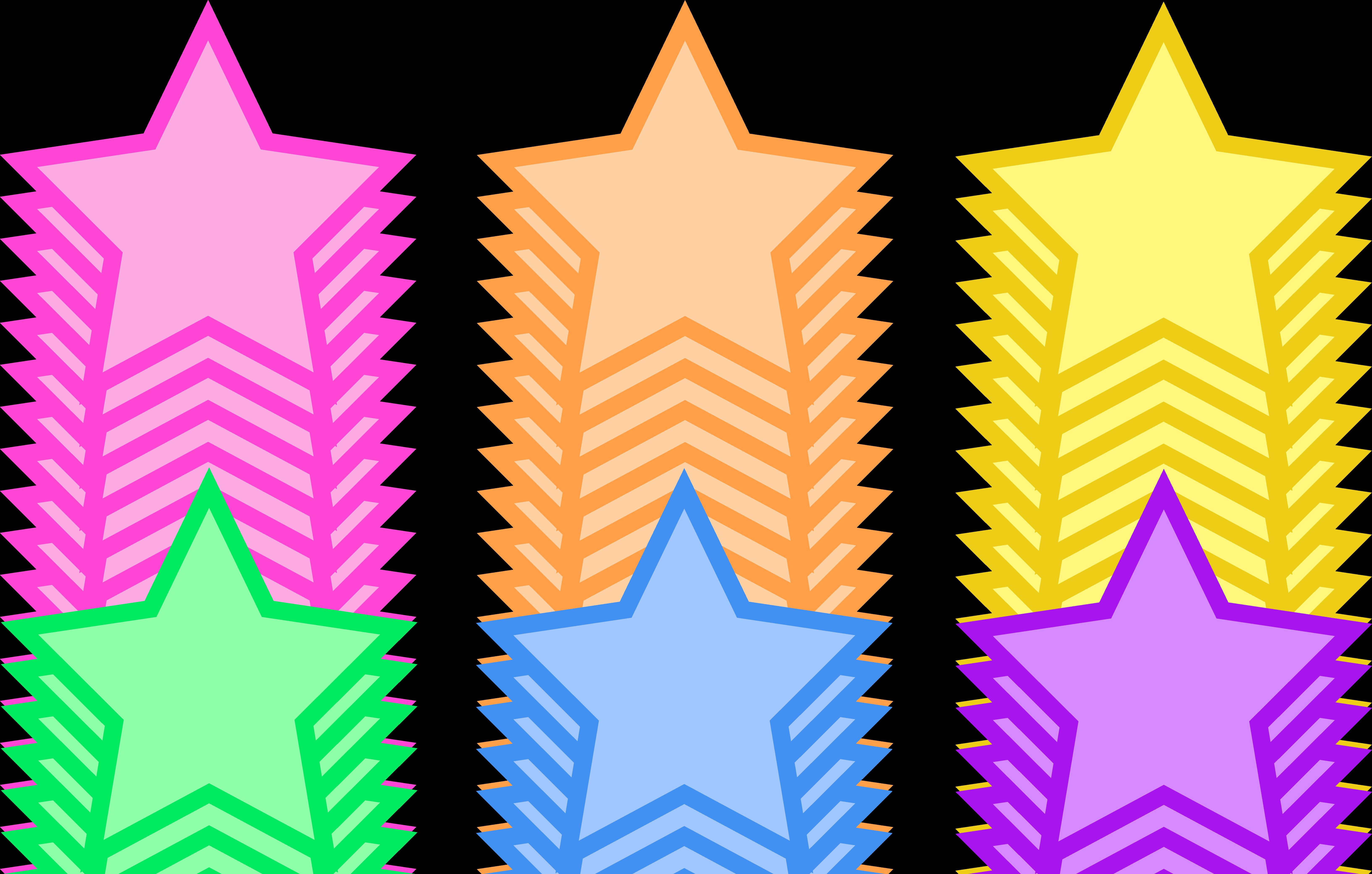 Set of Six Pastel Stars.