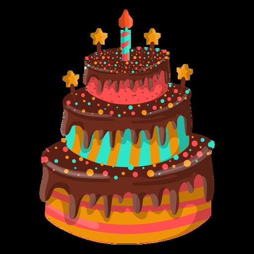 Ilustración de pastel de cumpleaños de chocolate.