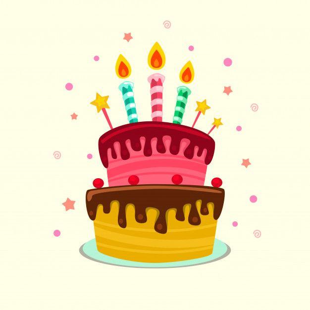 Plantilla de pastel de cumpleaños colorido aislado plano.