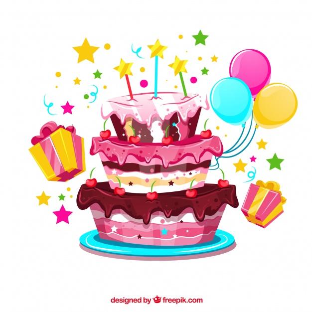 Fondo de tarta de cumpleaños con globos y regalos.
