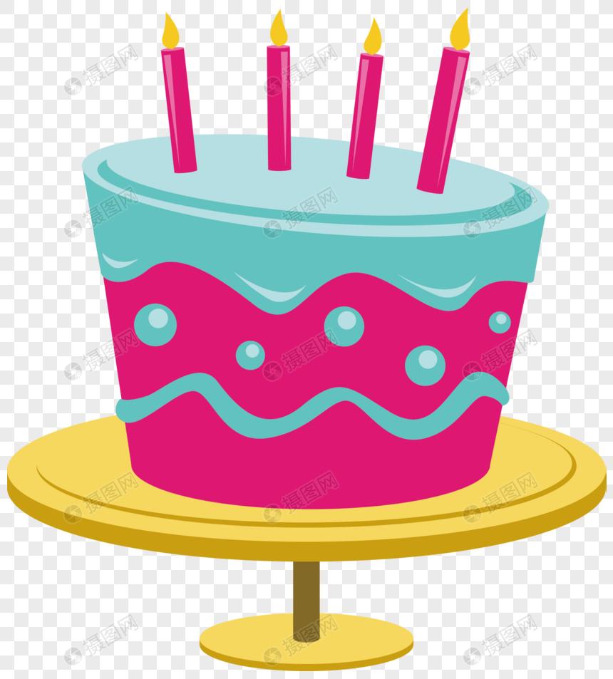 pastel de cumpleaños de dibujos animados vector material.