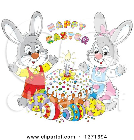Clipart of a Pastel Birthday Cake with Candles and Flowers.