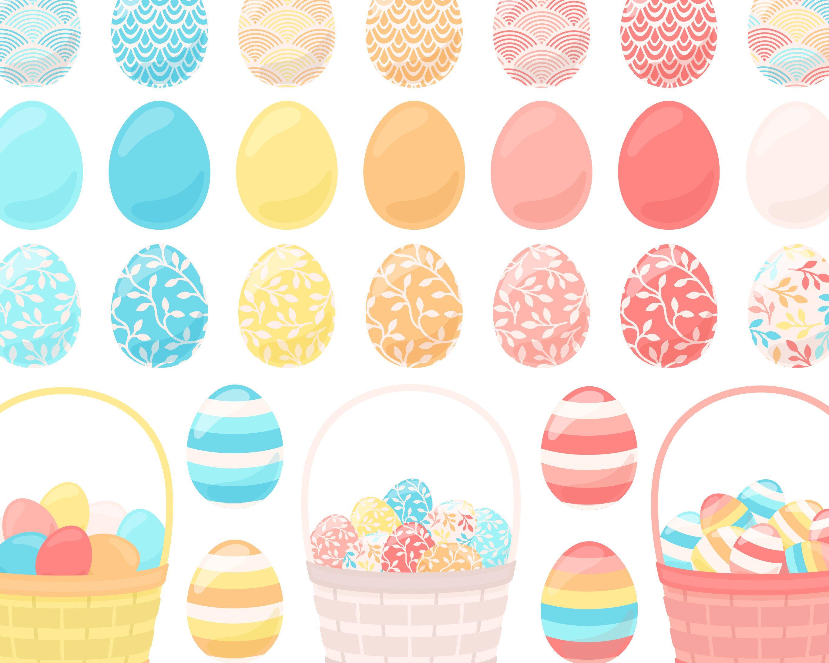 Pastel Easter Egg Clipart, Easter Basket Clipart, Spring.