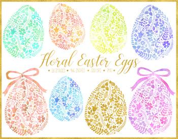 Floral Watercolor Easter Egg Clipart, Gold Easter Egg.