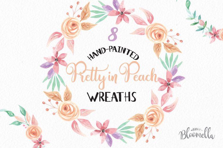 Watercolor Peach Clipart Wreaths Flowers Garlands Pastels Floral.