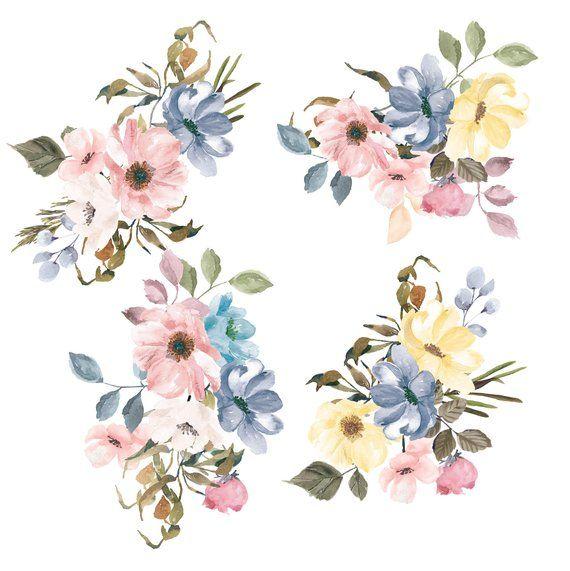 Pastel Colors Watercolor Flowers Watercolor Floral Clipart.