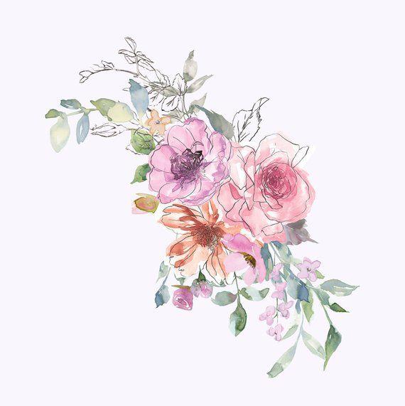 Watercolor Subtle Pastels Flowers Clipart Sketch Style.