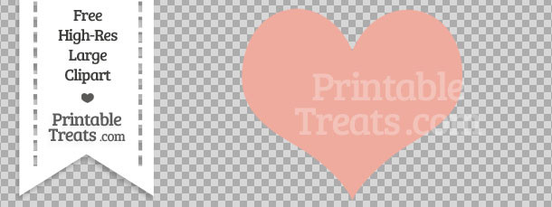 Pastel Coral Heart Clipart — Printable Treats.com.