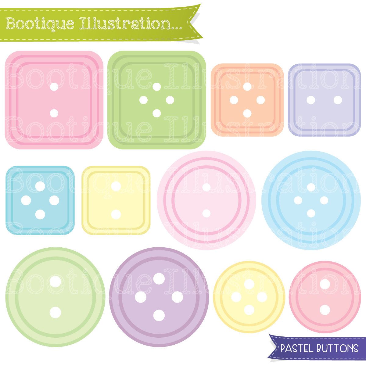 Pastel Buttons Clipart. Cute Button Clip Art in a range of Pastel.
