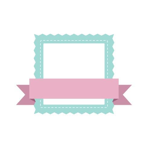 Pastel frame badge design vector.